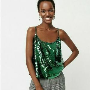 J crew green all over sequin holiday camisole